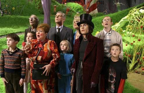 Charlie und die Schokoladenfabrik : Bild Freddie Highmore, Johnny Depp, Jordan Fry